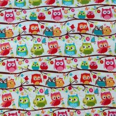Owl Fabric Cream Happy Flappers Branch