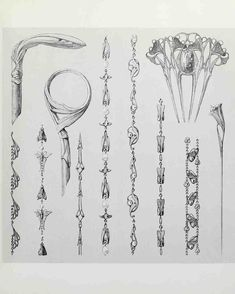 Bijoux Art Nouveau, Art Nouveau Jewelry, Jewelry Art, Pre Raphaelite Paintings, Jugendstil Design, Ornament Drawing, Jewelry Design Drawing, Doodle Art Drawing, Jewelry Illustration