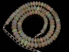 "#0132 Natural Ethiopian Welo Opal Gemstone Plain Rondelle 77 Carats 18"" Necklace"