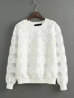 Sweet Style White Four Leaf Clover Pattern Pullover Top
