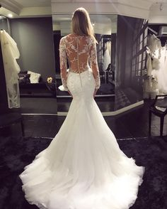 Vintage Long Sleeve Wedding Dress,See Through Wedding Dress,Sexy