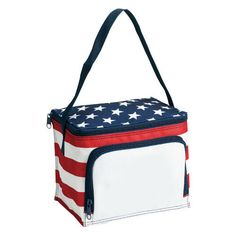 Poly Stars and Stripes Style Lunch Bag - Stars and stropes six can cooler.