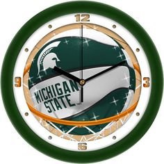 Michigan State Spartans - Slam Dunk Wall Clock