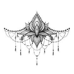 Lotus Underboob Tattoo - Lotus Sternum Tattoo / Lotus Sexy Underboob Tattoo / Festival Underboob Tattoo / Ornament Underboob - Here we have an amazingly complicated and feminine Lotus tattoo. Realistic Temporary Tattoos, Temporary Tattoo Designs, Chest Tattoos For Women, Meaningful Tattoos For Women, Mandala Tattoos For Women, Sexy Tattoos, Small Tattoos, Flower Tattoos, Tattos