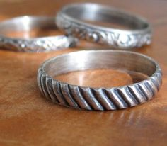 Sterling silver diagonal stripe ring custom sized, unisex, wedding band, men's wedding ring, stacking ring, metalsmith gift -  made to order