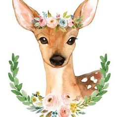 Meadowland Deer Ii Print Adorenstudio Com - Description Adorable Watercolor Deer From The Meadowland Collection Adorned With A Colorful Flower Crown Of Blushes Pinks Greens And Blues And Surrounded By A Laurel Of Greenery And Florals Detail Watercolor Deer, Watercolor Animals, Watercolor Paintings, Animal Paintings, Animal Drawings, Cute Drawings, Detail Art, Woodland Animals, Nursery Art