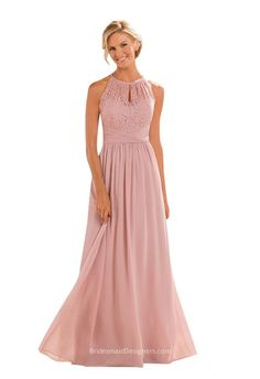 Dusty rose pink sleeveless A-line bridesmaid dress features lace jewel neckline bodice with petite slit on the center, floor length skirt with draped chiffon, keyhole back.