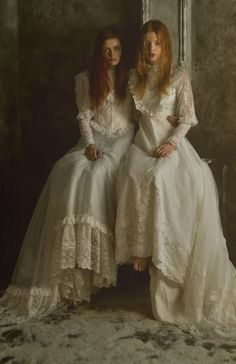 Gothic Southern gypsy art | The Light Sisters- daughters of the house - quiet, twins, scared, held ...
