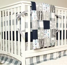 Woodland Nursery Bedding Set, Deer Crib Bedding, Navy Blue, Gray Arrow, Plaid Baby Boy Crib Bedding by GiggleSixBaby on Etsy https://www.etsy.com/listing/207323837/woodland-nursery-bedding-set-deer-crib