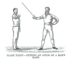 John Musgrave Waite - Plate XXXIV from Lessons in Sabre, 1880.  Cutting an apple on a man's hand.