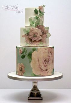 This sweet, vintage-style cake with wafer paper tier and dimensional effects. Beautiful Wedding Cakes, Gorgeous Cakes, Pretty Cakes, Amazing Cakes, Bolo Floral, Floral Cake, Unique Cakes, Creative Cakes, Wafer Paper Cake