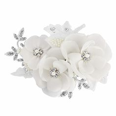 Isadora Bridal Wedding Hair Flower, a pretty floral wedding hair comb featuring three soft fabric roses with crystal centres embellished with pearl lace leaves and cubic zirconia encrusted silver leaves Floral Wedding Hair, Vintage Wedding Hair, Wedding Hair Flowers, Bridal Flowers, Flowers In Hair, Bridal Comb, Boho, Hair Comb, Wedding Accessories