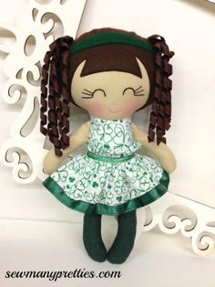 St Patrick's Day Handmade Dolls St Patty's Dolls  by SewManyPretties, $40.00