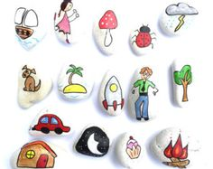 Story Stones General mix 1 by LittlebyNature on Etsy Pebble Painting, Pebble Art, Stone Painting, Pebble Stone, Stone Art, Story Sack, Painted Rocks, Hand Painted, The Nativity Story