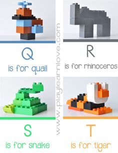 Lego Animal Alphabet Printable | play learn love.com. Has entire Alphabet
