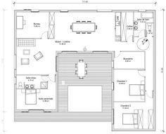 Nice Plan Maison 4 Chambres En U that you must know, You?re in good company if you?re looking for Plan Maison 4 Chambres En U Dream House Plans, Modern House Plans, Small House Plans, House Floor Plans, U Shaped House Plans, U Shaped Houses, The Plan, How To Plan, Building A Container Home