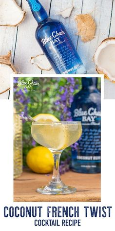 Smile, there's bubbly. This Coconut Rum cocktail recipe is a mix of fresh lemon juice, simple syrup and champagne (or sparkling wine). Its sweet and refreshing. Combine ingredients in a glass to make this easy drink and garnish with a lemon slice and lavender. Click here for the full recipe. #bluechairbay #coconutrum #BCBHappyHour