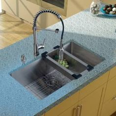 Check out the Vigo VG15079 Undermount Stainless Steel Kitchen Sink with Faucet, Colander, Grid, Strainer and Dispenser priced at $740.88 at Homeclick.com.
