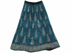 Amazon.com: Black Blue Skirt, Bohemian Crinkle Skirts Sequin Beaded Womens Gypsy Skirt: Clothing
