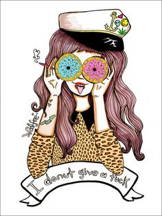 I Donut Give a Fuck Print - Dolls and Donuts art print - Girl Yummy – Valfré