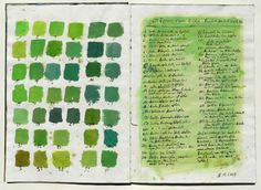 color chart, 40 shades of green observed in a spring forest of beech and oak trees, gouache colors via Squidoo.