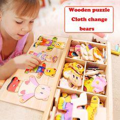 Jouets en bois blocs Puzzle Animal Ours Vêtements robes changer enfant jouets 72 pcs blocs éducatifs en bois jeux jouet pour enfants