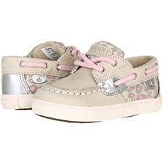 So cute! Sperry Kids Bluefish Prewalker (Infant) Silver Cloud/Pink Leopard - Zappos.com