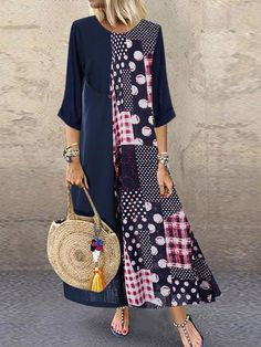 Cheap best O-NEWE Polka Dot Print Patchwork Plus Size Dress for Women on Newchic, there is always a plus size print dresse suits you! Long Sleeve Maxi, Maxi Dress With Sleeves, Half Sleeves, The Dress, Plus Size Maxi Dresses, Casual Dresses, Linen Dresses, Casual Outfits, Patchwork Dress