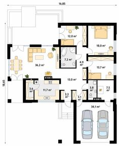 Ambrozja parterowy dom z nowoczesną elewacją i dużym tarasem - Jesteśmy AUTOREM - DOMY w Stylu House Plans Mansion, Dream House Plans, One Storey House, Three Bedroom House Plan, Cottage Plan, Architect House, My House, Sweet Home, Floor Plans