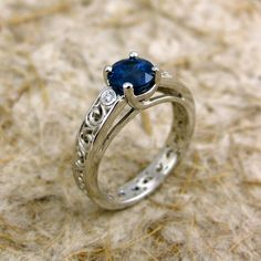 Round Blue Sapphire Engagement Ring in Platinum Lucida Style Setting with Scrolls and Diamond Accents - Reserved for HELEN - Deposit