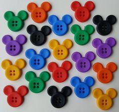 SEW THRU MICKEY Disney Mouse Ears Children Bright Dress It Up Craft Buttons