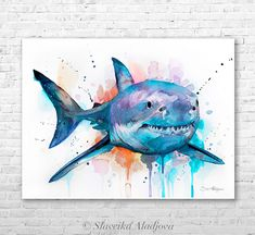 Great white shark watercolor painting print by Slaveika Aladjova, art, animal, illustration, Sea art, sea life art, home decor, Wall art