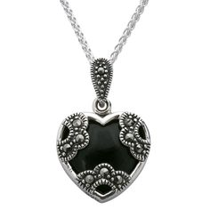 235 best whitby jet pendants set in sterling silver images on sterling silver whitby jet and marcasite cased floral heart necklace aloadofball Images