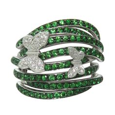 Modern Tsavorite Diamond Gold Butterfly Ring | From a unique collection of vintage more rings at https://www.1stdibs.com/jewelry/rings/more-rings/