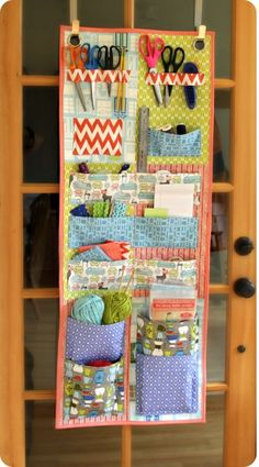 The Door Stash pattern is designed with the quilter, seamstress or crafter in mind and will make any quilter feel great about closing the door and getting down to business. This is an easy to medium level pattern that is completely designed around fat quarters, with very little wasted fabric. It utilizes over the door wreath hangers while taking advantage of a rarely used storage space.