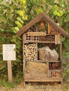 DIY Repurposed and Upcycled Yard & Garden Decor Project Ideas - Example of an insect hotel for solitary bees. A bee hotel can be as small or large as you want, and -