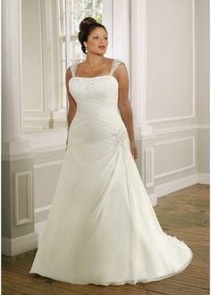 Ivory Scoop Neckline A-line Elgant Plus Size Ruched Organza Wedding Dresses For Brides