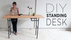 DIY Standing Desk. You can build this height-adjustable standing desk with basic materials from Home Depot. Sitting all day is generally a bad idea, and standing desks can give you the flexibility to stand and move around.