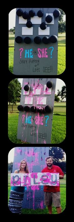 Gender reveal. Have your guest throw darts at paint filled balloons over canvas. Use the art in the baby room! by regina
