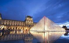 壁紙をダウンロードする ルーブル美術館, 夜, ピラミッド, 地, パリの, 博物館, フランス, パレス