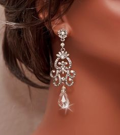 Bridal Rhinestone Earrings Swarovski Crystal by OliniBridalJewelry, $50.00