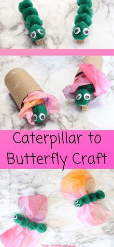 Caterpillar to Butterfly Craft. papillon Caterpillar to Butterfly Craft - Daycare Crafts, Classroom Crafts, Kids Crafts, Preschool Arts And Crafts, Spring Craft Preschool, Arts & Crafts, Spring Craft For Toddlers, Kindergarten Crafts Summer, Paper Crafts