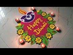 Happy Diwali Rangoli, Easy Rangoli Designs Diwali, Rangoli Simple, Simple Rangoli Designs Images, Indian Rangoli Designs, Rangoli Designs Flower, Free Hand Rangoli Design, Rangoli Border Designs, Small Rangoli Design