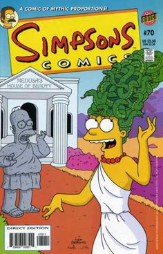 At Greek Acropolis, Marge has her hair filled with snakes. A statue of Homer looks at her in surprise. #greekacropolis