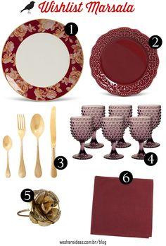 wishlist com peças para mesa em tons de marsala e dourado.