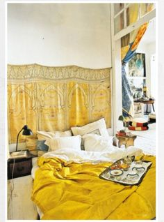 bedroom love the yellow color.