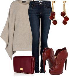 Burgundy accessories, cream jumper and denim