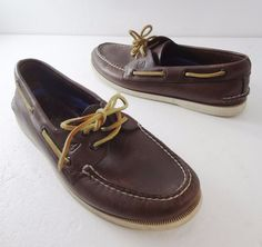 Sperry Top-Sider A/O 2-Eye Brown Boat Deck Shoes Mens 9 W Non-Marking 0195115 #SperryTopSider #BoatShoes