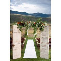 """""""We are utterly speechless over this doorway #weddingaisle! It makes an already gorgeous location shine! #weddingceremony #weddingdecor #rusticwedding…"""""""