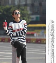 Fashionable Women's Striped Pullover Sweater on BuyTrends.com, only price $16.50